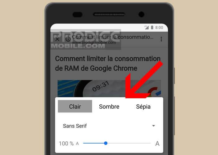 Personnaliser les paramètres d'affichage des pages web sur un smartphone Android