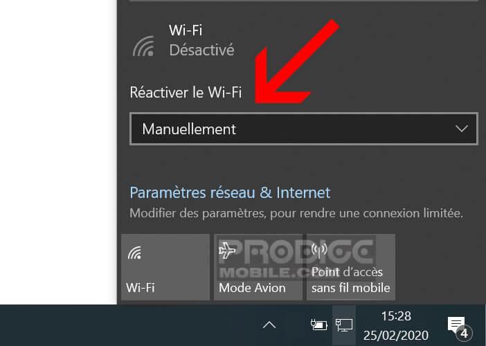 Définir le délai permettant de réactiver automatiquement le Wi-Fi