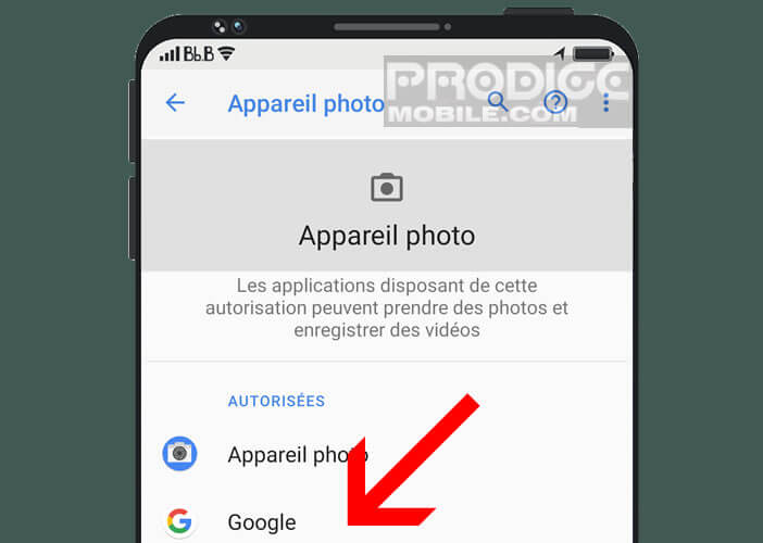 Liste des applications disposant de l'autorisation d'accéder à l'appareil photo