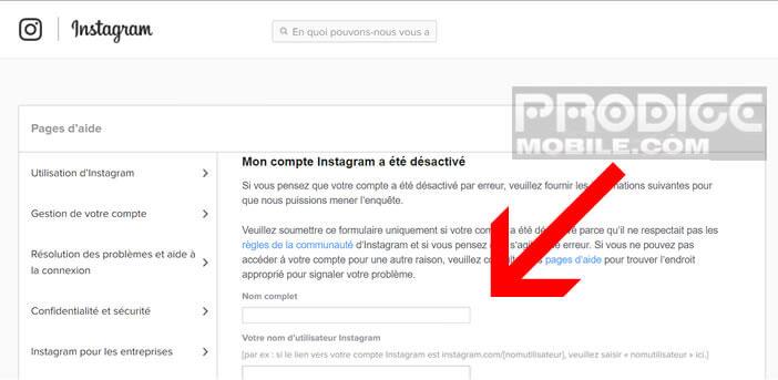 Demander au service de contact d'Instagram une réouverture de votre compte