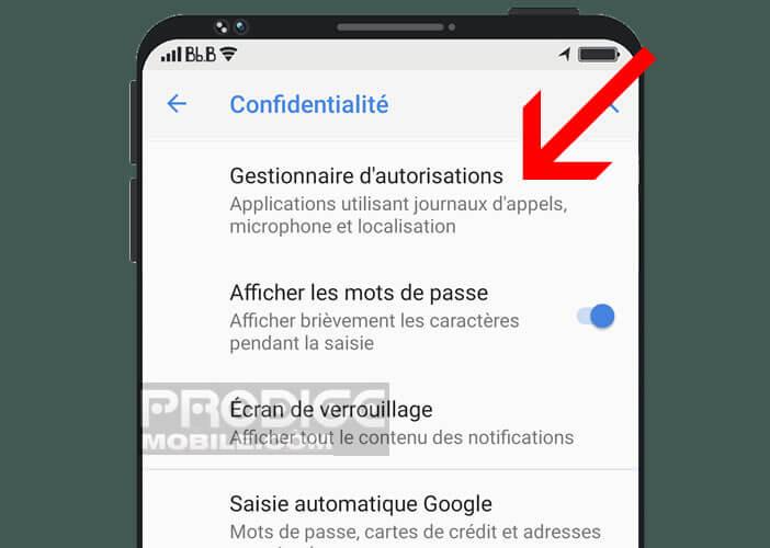 Le gestionnaire d'autorisations sur un smartphone Android