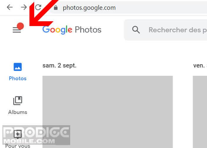 Ouvrir le menu des options du site Google Photos
