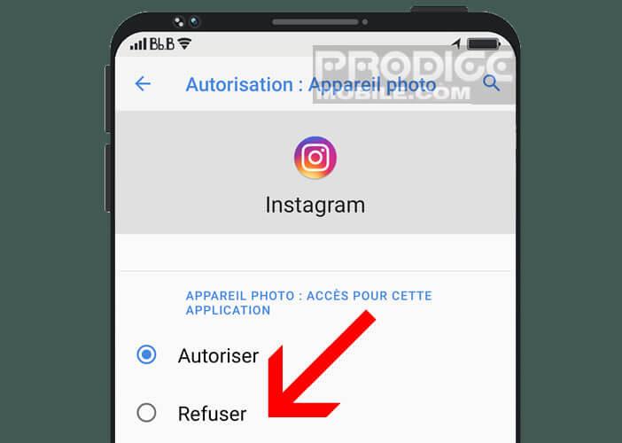 Refuser l'accès à la fonction caméra à l'application de votre choix