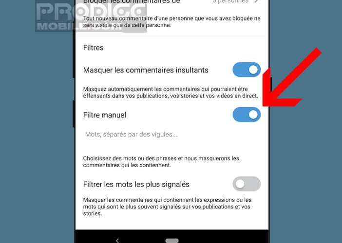 Activer les filtres manuels de l'application Instagram