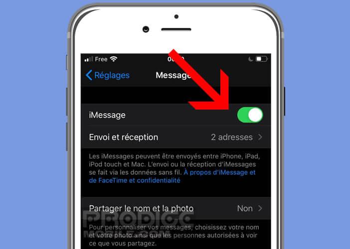 Assurez-vous que l'option iMessage est bien activé