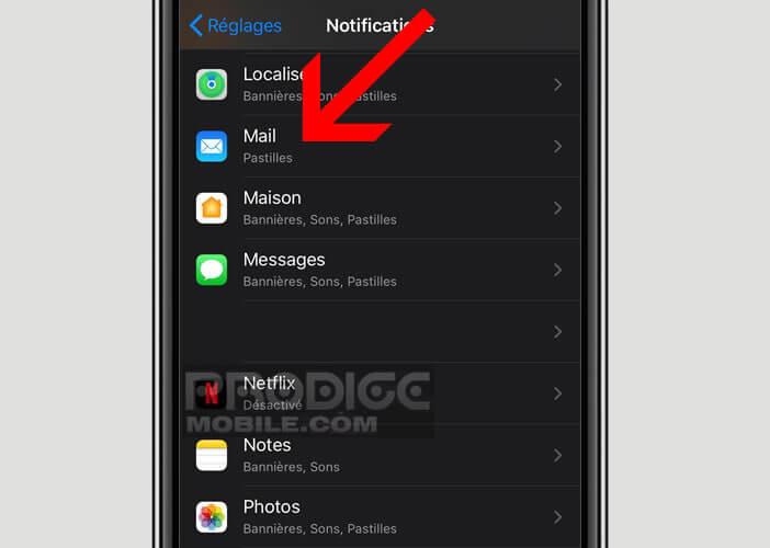 Gérer l'affichage des badges des messages dans l'appli Mail