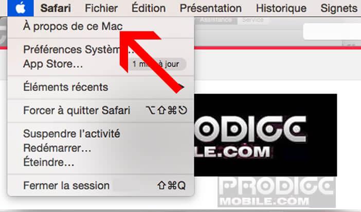 Ouvrir le menu de présentation de la configuration du Mac