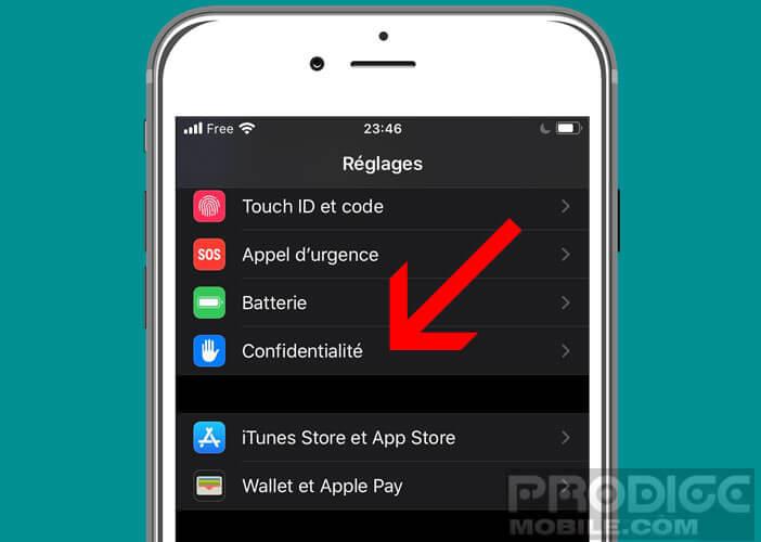 Modifier les réglages de confidentialité de l'iPhone