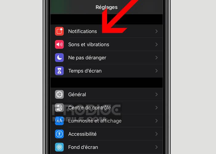 Modifier les réglages des notifications des applications de messagerie