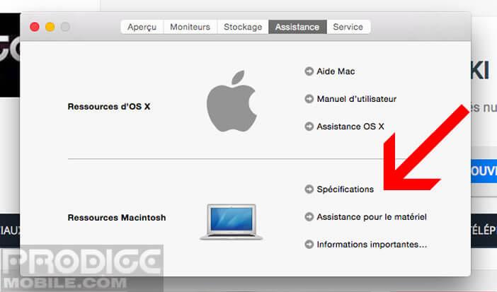 Afficher les spécifications techniques de votre Mac