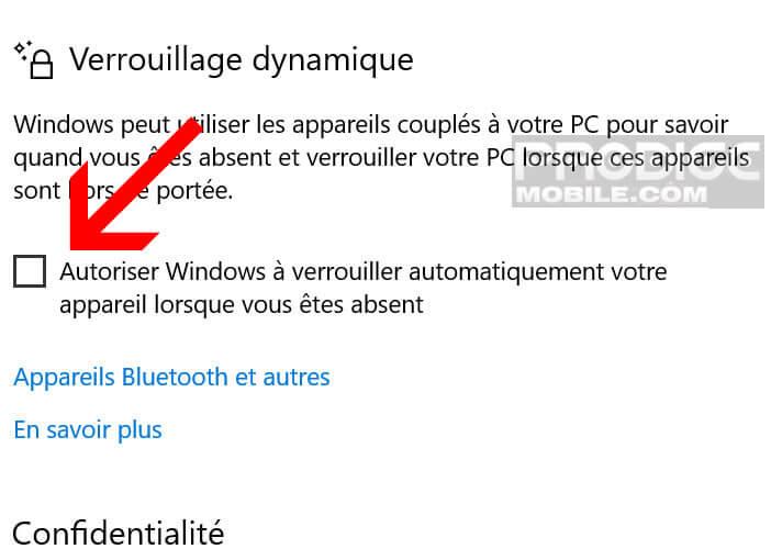 Mettre en fonction le verrouillage dynamique de Windows