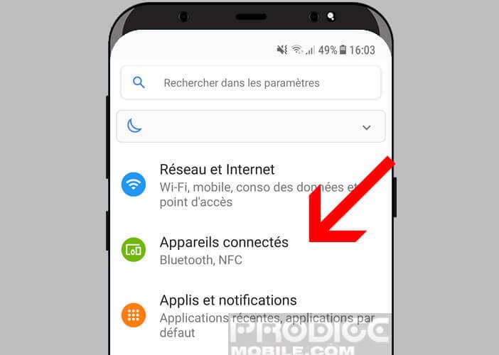 Appareils connectés dans les paramètres d'Android