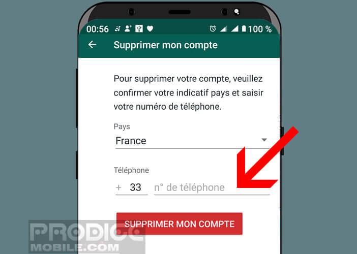 Saisir le numéro de téléphone dans l'application