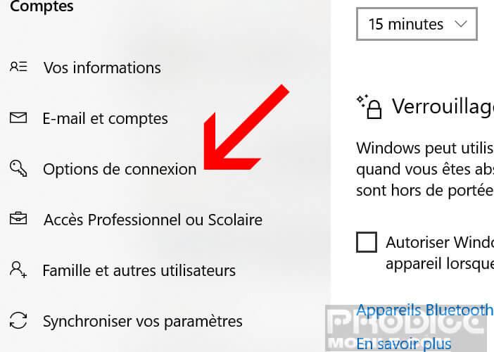 Modifier les options de connexion de votre compte Windows