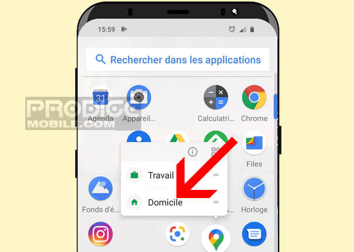 Ajouter une icône domicile sur le bureau d'Android