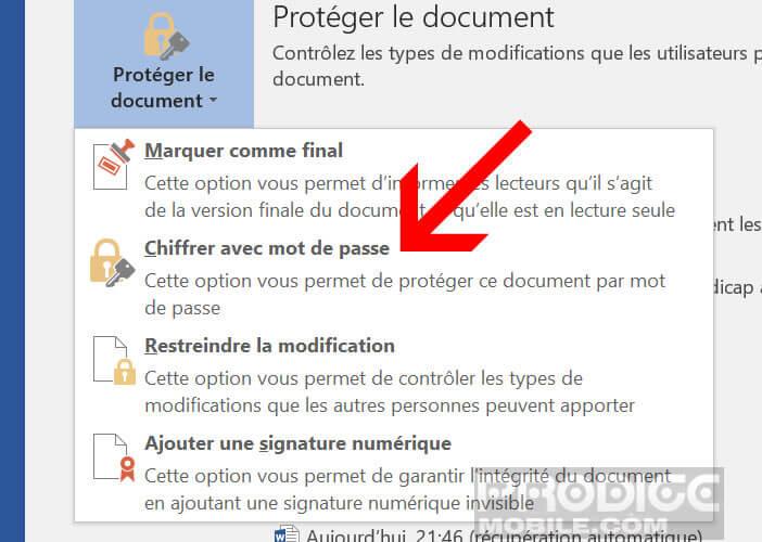 Chiffrer n'importe lequel de vos documents Office