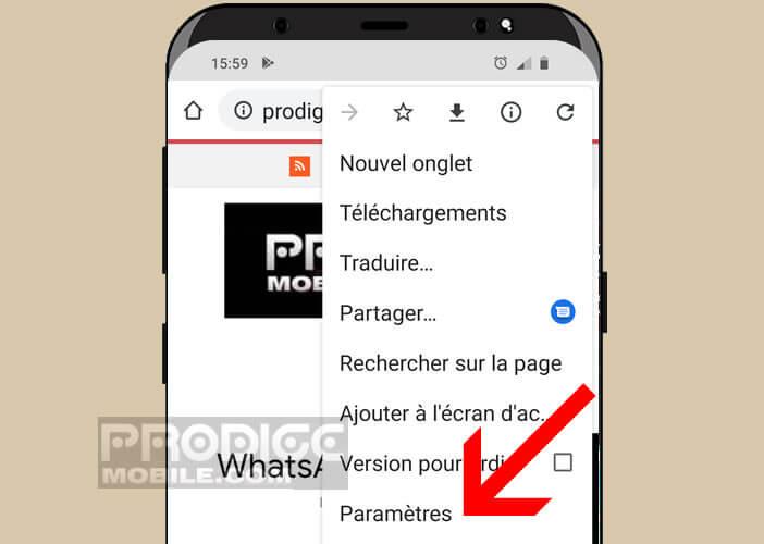 Ouvrir les paramètres du navigateur Google Chrome
