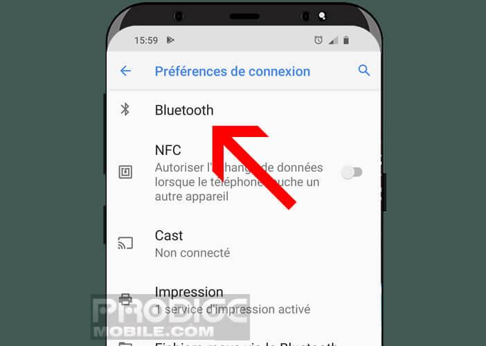 Préférence de connexion Bluetooth d'Android