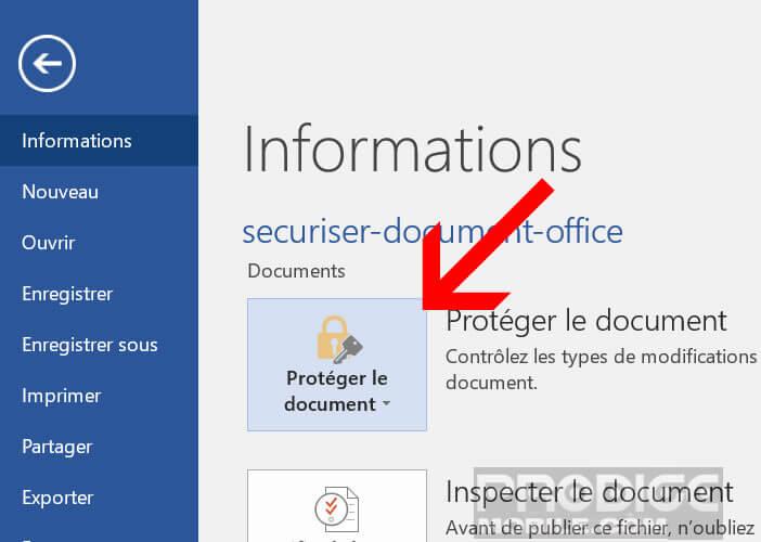 Sécuriser l'accès à votre fichier Word