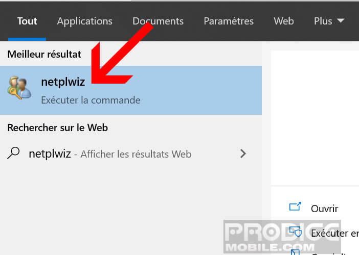 Exécuter le gestionnaire de comptes de Windows Netplwiz