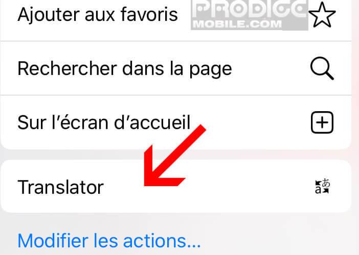 Lancez l'option Translator depuis la fonction partage de Safari