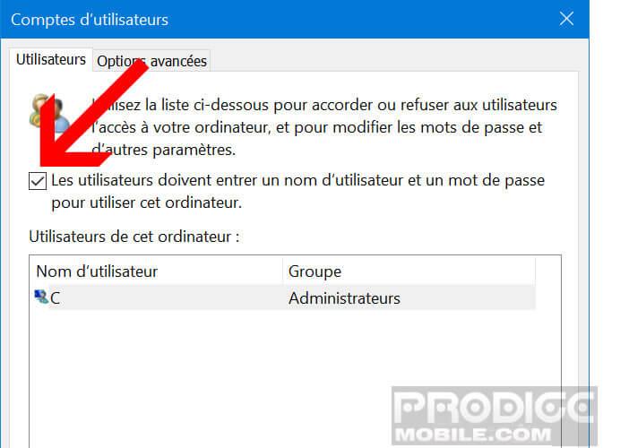 Bloquer l'utilisation du mot de passe au lancement de Windows