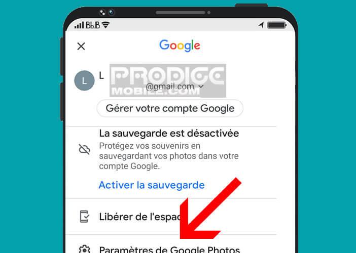 Ouvrir les paramètres de la nouvelle application Google Photos