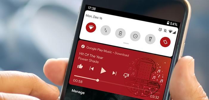 Afficher les contrôles du lecteur multimédia d'Android dans les réglages rapides