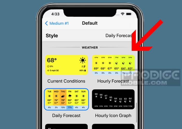 Changer l'apparence du widget météo de votre écran d'accueil