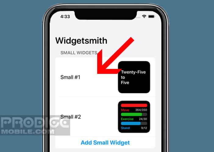 Sélectionner la taille de votre widget