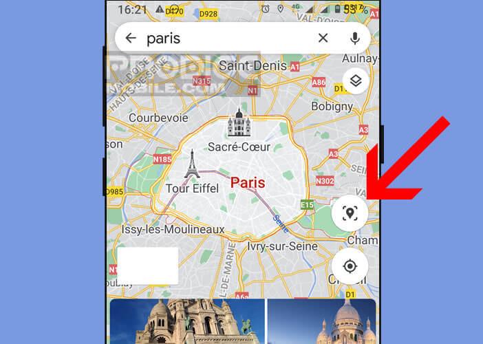 Cliquer sur l'icône Live View pour activer le système de localisation