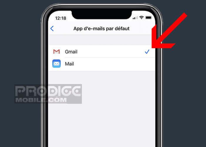 Choisir dans la liste l'app d'e-mails à mettre par défaut
