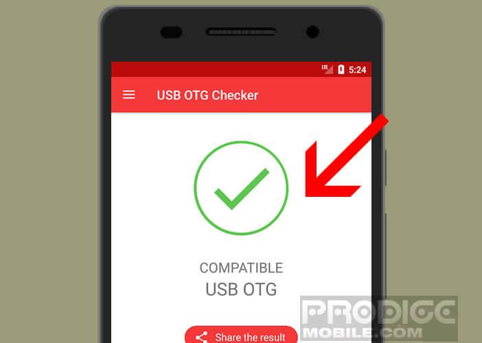 Lancer l'application USB OTG Checker