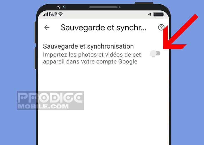 Activer le dispositif de synchronisation automatique d'images de Google Photos