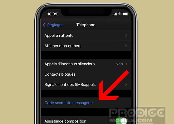 Modifier le code secret de la messagerie vocale visuelle