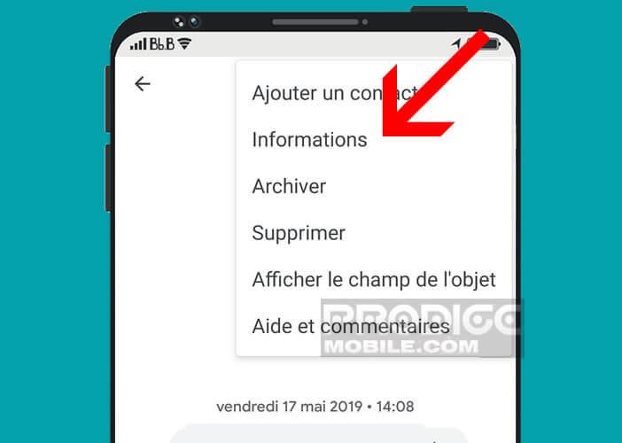 Ouvrez la rubrique informations de l'application Android Messages