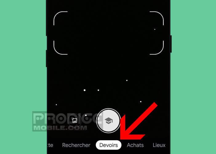 Activer le mode Devoirs sur l'application Google Lens