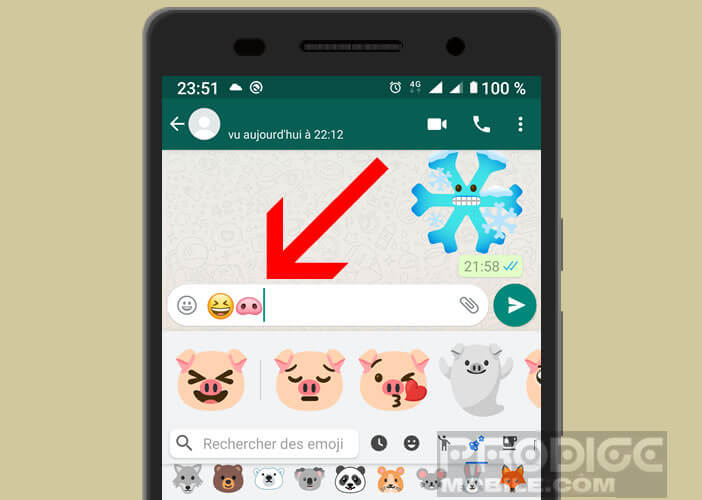 Enter two different emojis in your messaging app