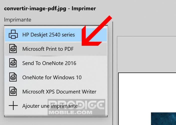 Sélectionner l'option Microsoft Print to PDF