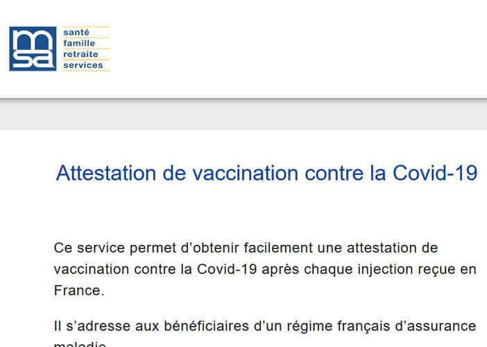 Télécharger votre attestation de vaccination contre la Covid-19 au format européen