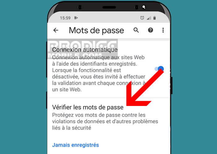 Lancer un scan de vos mots de passe sur Android