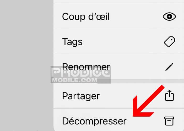 Dézipper un document ou un dossier avec l'app Files