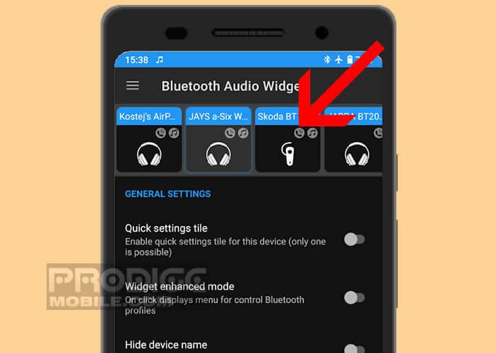 Widget permettant de basculer d'un appareil Bluetooth à un autre