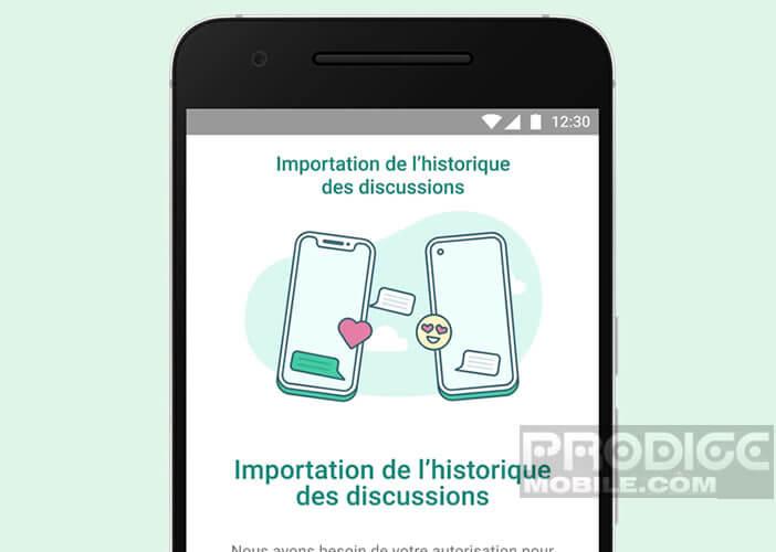 Lancer l'outil d'importation de l'historique des discussions de WhatsApp